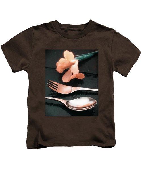 Flowers On Slate Variation 4 Kids T-Shirt