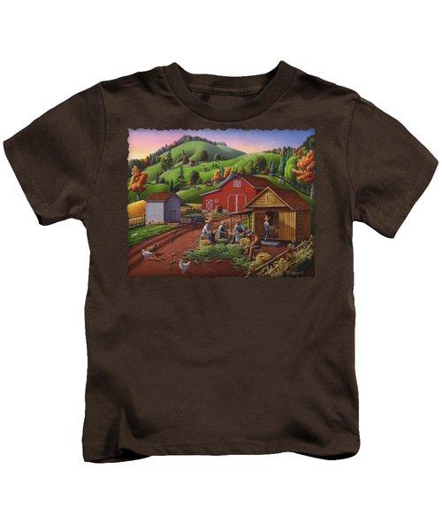 Folk Art Americana - Farmers Shucking Harvesting Corn Farm Landscape - Autumn Rural Country Harvest  Kids T-Shirt by Walt Curlee
