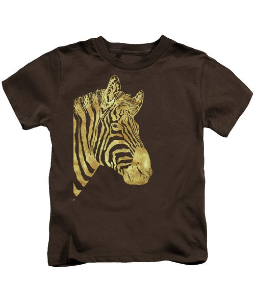 Gilt Zebra, African Wildlife, Wild Animal In Painted Gold Kids T-Shirt by Tina Lavoie