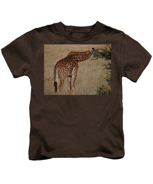 Giraffes Eating - Side View Kids T-Shirt by Exploramum Exploramum