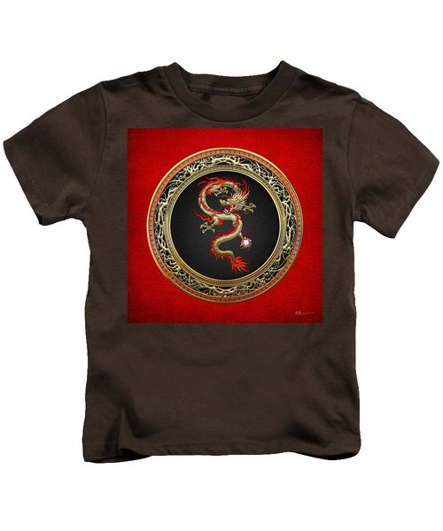 Golden Chinese Dragon Fucanglong On Red Leather  Kids T-Shirt