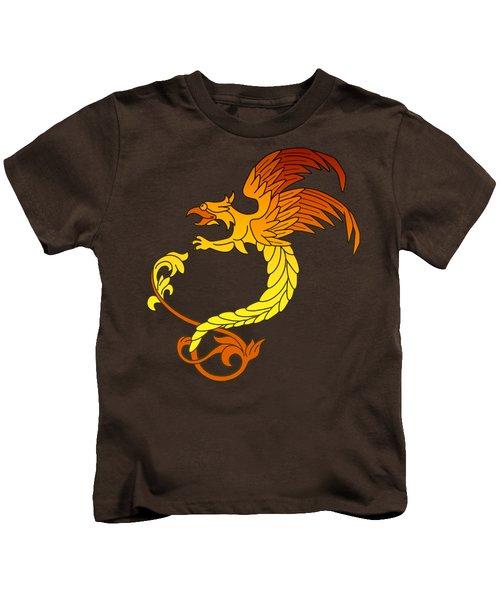 Griffin Griffon Gryphon In Flaming Colours Kids T-Shirt by Heidi De Leeuw