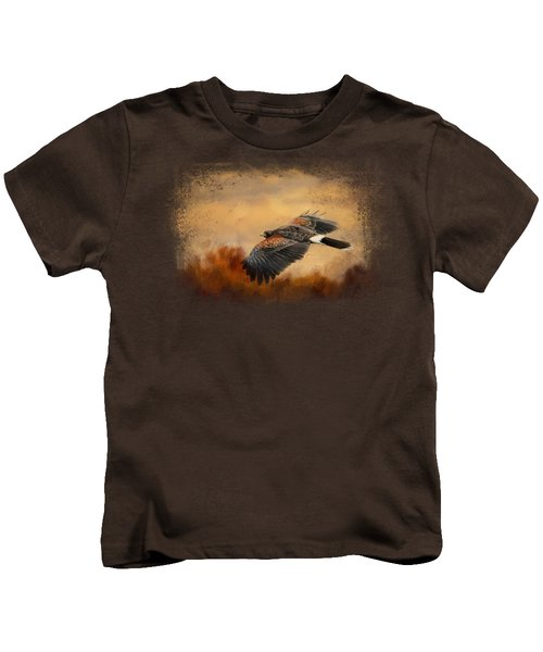 Harris Hawk In Autumn Kids T-Shirt by Jai Johnson