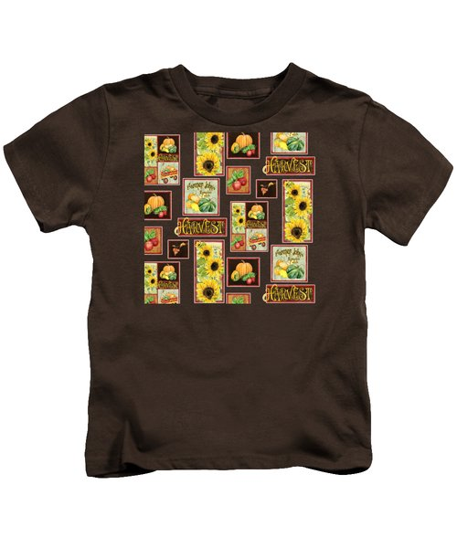 Harvest Market Pumpkins Sunflowers N Red Wagon Kids T-Shirt by Audrey Jeanne Roberts