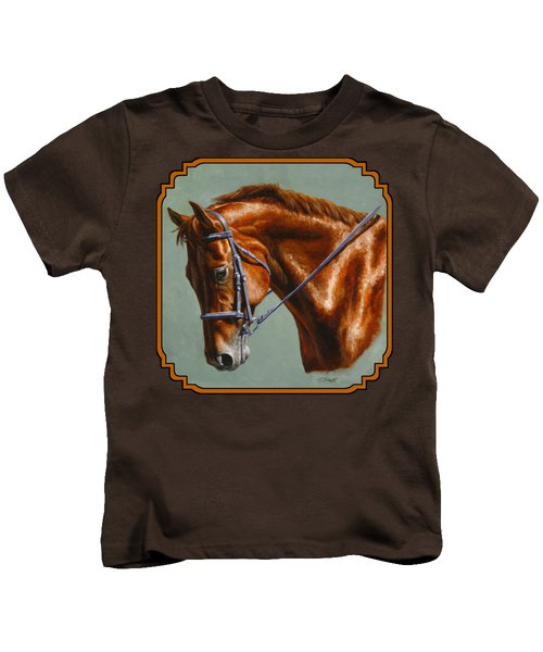 Horse Painting - Focus Kids T-Shirt by Crista Forest
