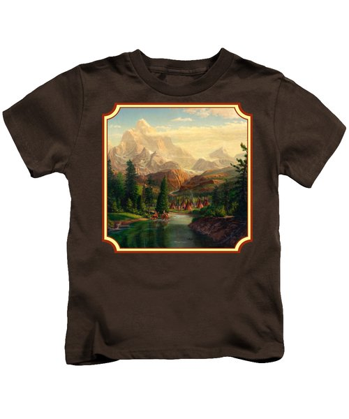 Indian Village Trapper Western Mountain Landscape Oil Painting - Native Americans -square Format Kids T-Shirt by Walt Curlee