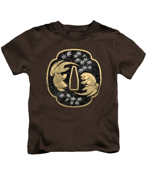 Japanese Katana Tsuba - Twin Gold Fish On Black Steel Over Red Velvet Kids T-Shirt