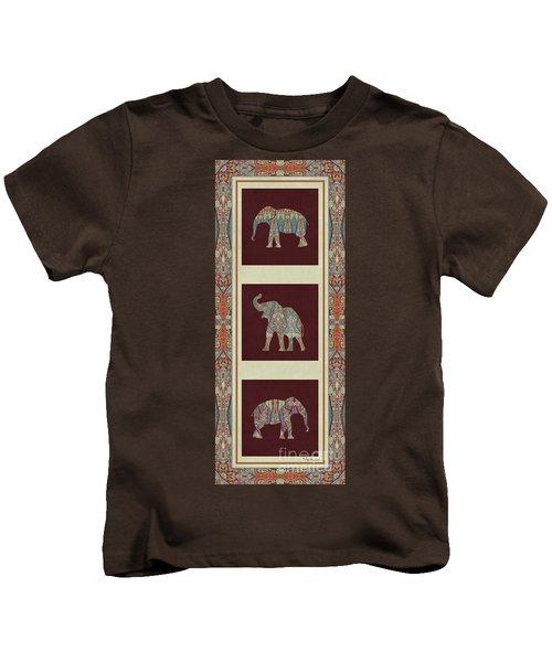 Kashmir Elephants - Vintage Style Patterned Tribal Boho Chic Art Kids T-Shirt by Audrey Jeanne Roberts