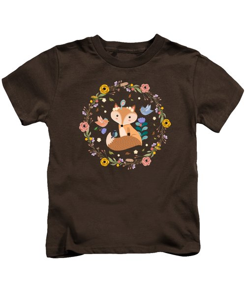 Little Princess Fox With Friends And Foliage Kids T-Shirt
