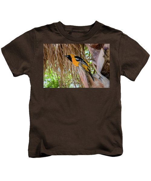 Male Hooded Oriole H17 Kids T-Shirt by Mark Myhaver