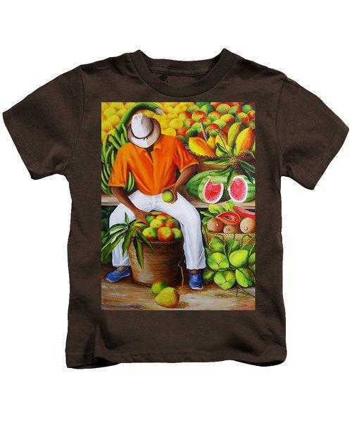 Manuel The Caribbean Fruit Vendor  Kids T-Shirt