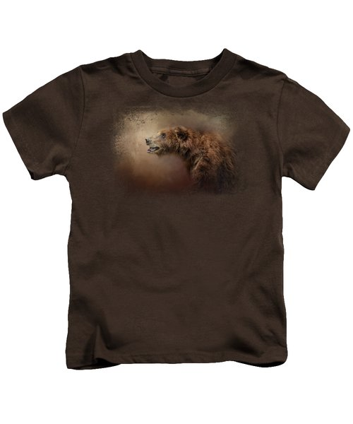 Morning Grizzly Kids T-Shirt by Jai Johnson