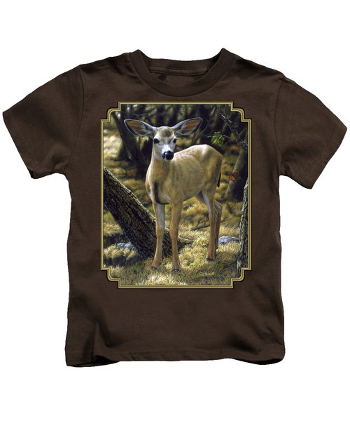 Mule Deer Fawn - Monarch Moment Kids T-Shirt by Crista Forest