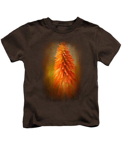 Orange Blast In The Garden Kids T-Shirt by Jai Johnson