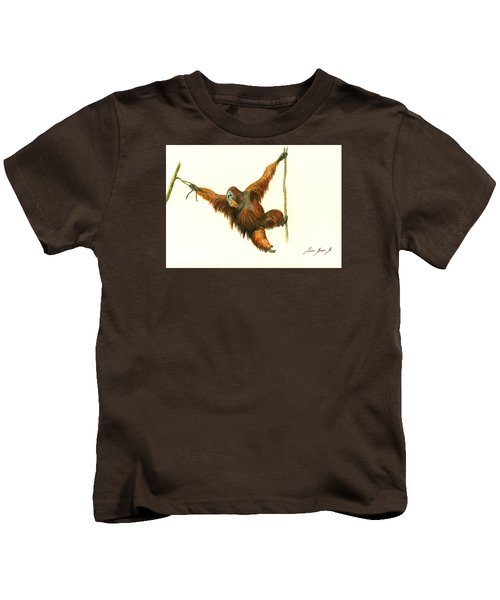 Orangutan Kids T-Shirt by Juan Bosco