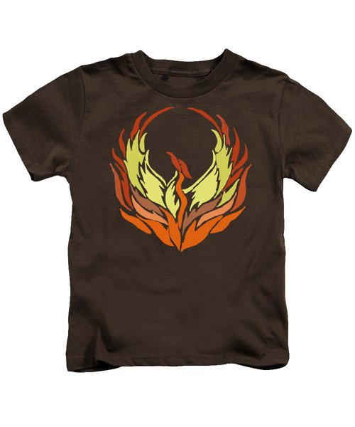 Phoenix Bird Kids T-Shirt by Priscilla Wolfe