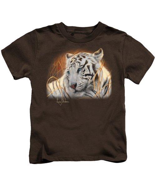 Portrait White Tiger 1 Kids T-Shirt by Lucie Bilodeau