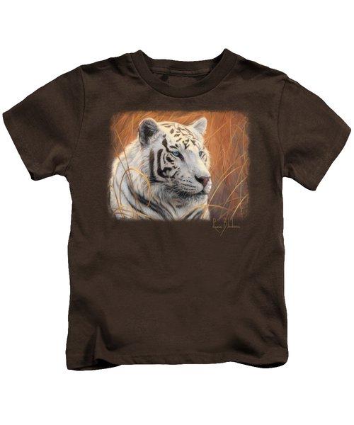 Portrait White Tiger 2 Kids T-Shirt by Lucie Bilodeau