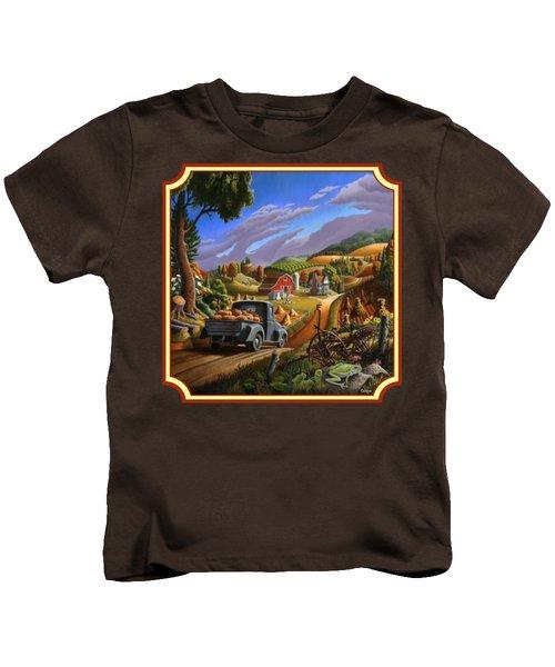 Pumpkins Farm Folk Art Fall Landscape - Square Format Kids T-Shirt by Walt Curlee
