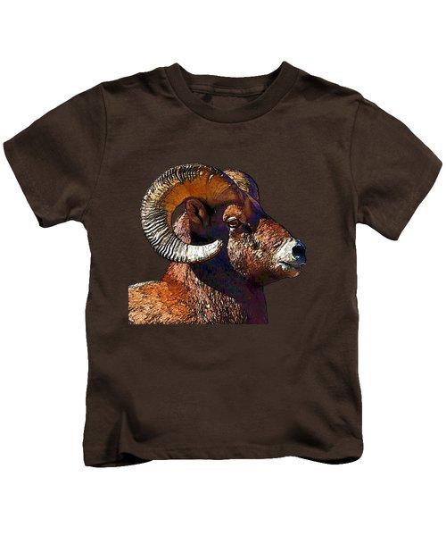 Ram Portrait - Rocky Mountain Bighorn Sheep By Olena Art Kids T-Shirt