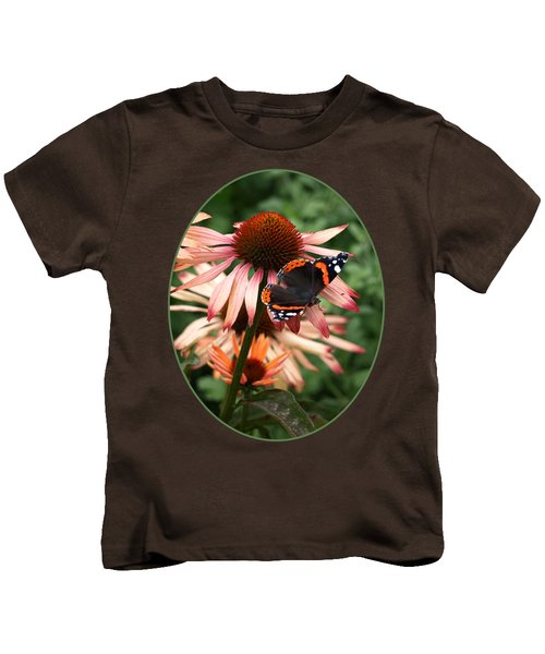 Red Admiral On Coneflower Kids T-Shirt by Gill Billington
