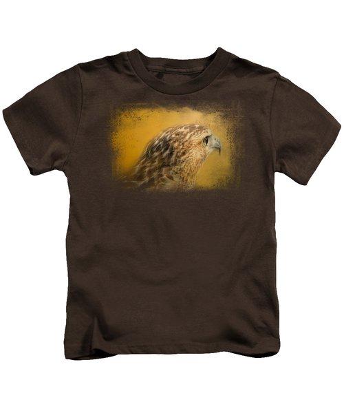 Red Tailed Hawk At Sunset Kids T-Shirt by Jai Johnson