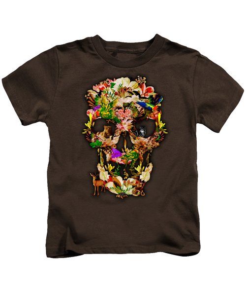 Sugar Skull Animal Kingdom Kids T-Shirt by Three Second