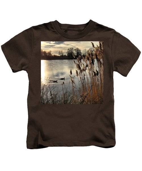 Sunset Lake  Kids T-Shirt by Kathy Spall