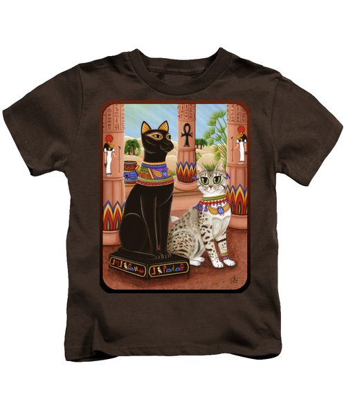 Temple Of Bastet - Bast Goddess Cat Kids T-Shirt by Carrie Hawks