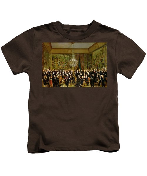The Salon Of Alfred Emilien At The Louvre Kids T-Shirt by Francois Auguste Biard