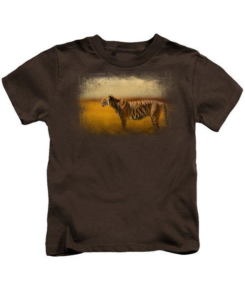 Tiger In The Golden Field Kids T-Shirt