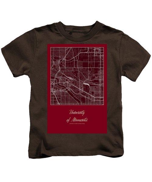 U Of M Street Map - University Of Minnesota Minneapolis Map Kids T-Shirt by Jurq Studio