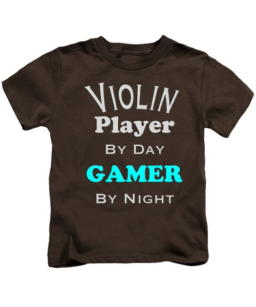 Violin Player By Day Gamer By Night 5633.02 Kids T-Shirt by M K  Miller