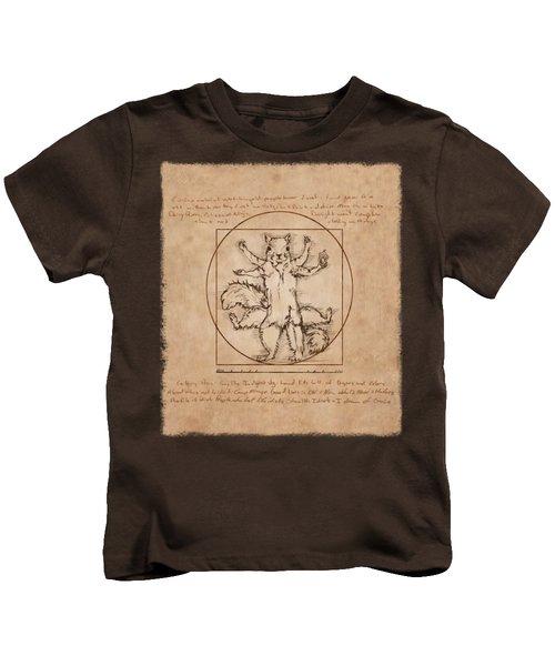 Vitruvian Squirrel Kids T-Shirt by Katherine Nutt