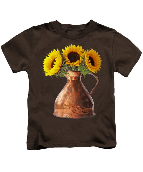 Sunflowers In Copper Pitcher On Black Kids T-Shirt
