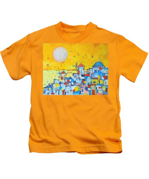 Abstract Santorini - Oia Before Sunset Kids T-Shirt