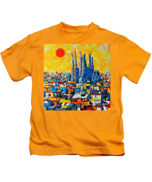 Abstract Sunset Over Sagrada Familia In Barcelona Kids T-Shirt
