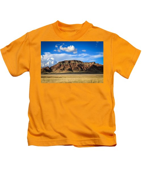 Aferican Grass And Mountain In Sossusvlei Kids T-Shirt