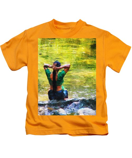 After The River Bathing. Indian Woman. Impressionism Kids T-Shirt