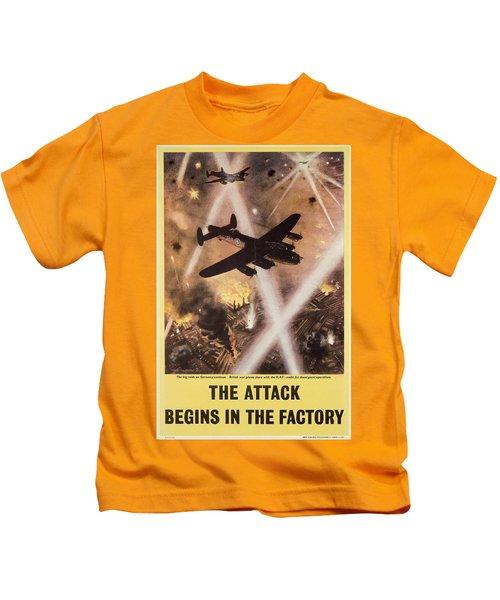 Attack Begins In Factory Propaganda Poster From World War II Kids T-Shirt
