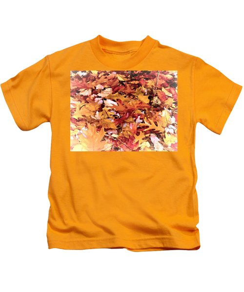 Autumn Leaves On The Ground In New Hampshire In Muted Colors Kids T-Shirt
