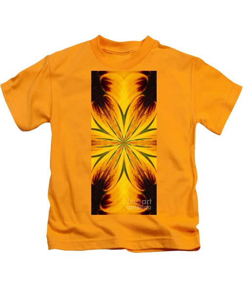 Brown And Yellow Abstract Shapes Kids T-Shirt