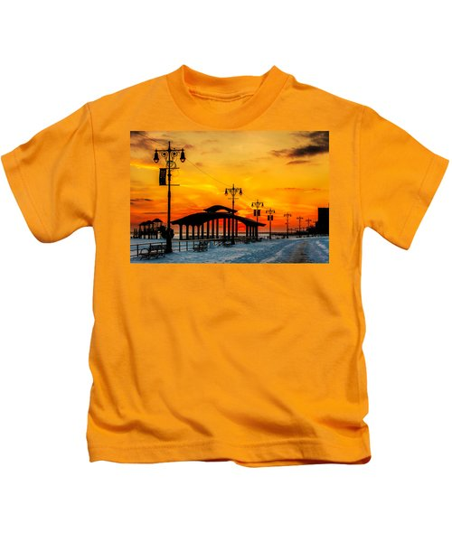 Coney Island Winter Sunset Kids T-Shirt
