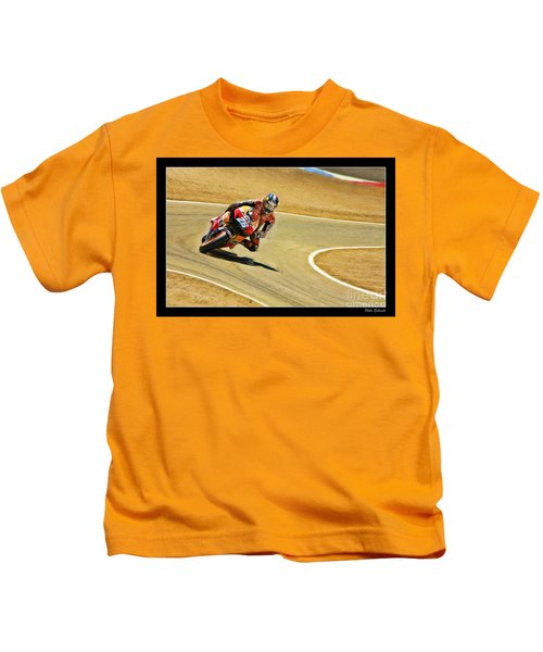 Dani Pedrosa Running Out Of Road Kids T-Shirt