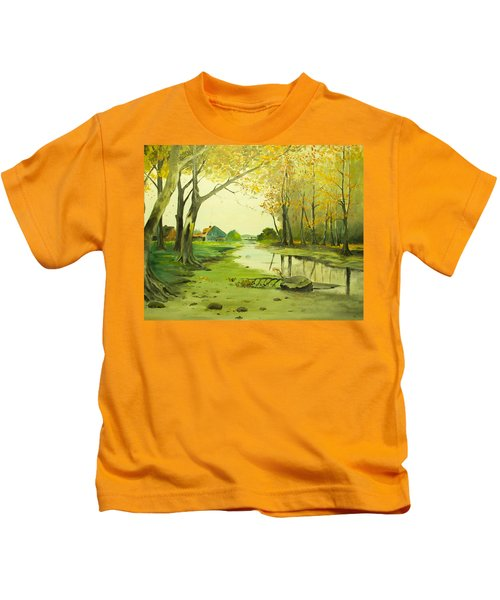 Fall By The Stream By Merlin Reynolds Kids T-Shirt