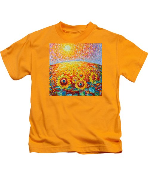 Fields Of Gold - Abstract Landscape With Sunflowers In Sunrise Kids T-Shirt