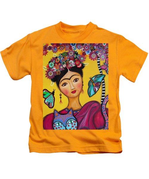 Frida Kahlo And Her Cat Kids T-Shirt