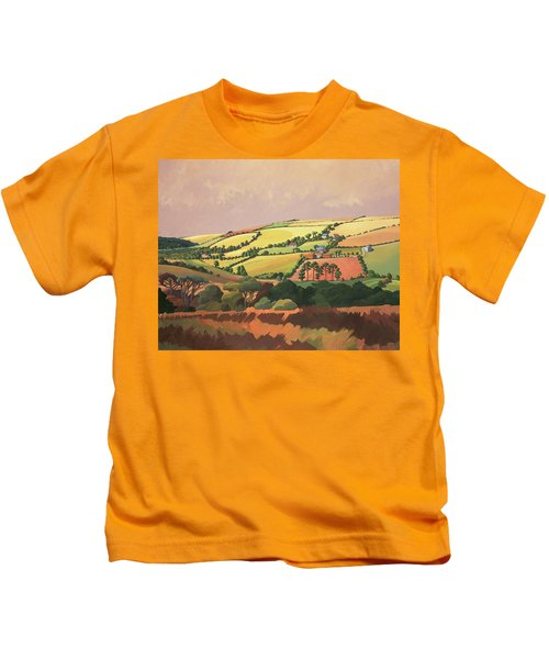 From The Train, South Devon, No.1 Oil On Canvas Kids T-Shirt