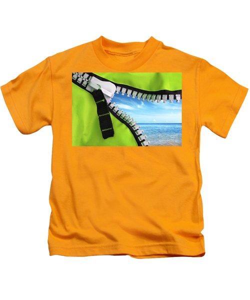 Green Zipper Kids T-Shirt