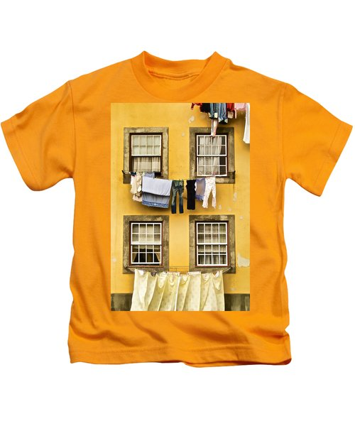 Hanging Clothes Of Old World Europe Kids T-Shirt